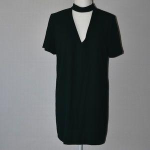 Zara Emerald Green Collered Shift Dress Sz S